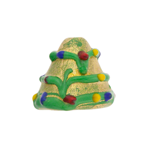 Lampwork murano glass gold foil christmas tree 15mm - Murano glass christmas tree ...