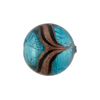 Murano Glass Bead Aventurina Round White Gold Foil 18mm Aqua
