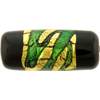 Black Focal Murano Glass Tube Bead, Green Swirl & Gold Foil