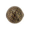 Blown Murano Glass Round Gold Foil 20mm, Black