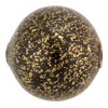 Blown Murano Glass Round Gold Foil 30mm, Black