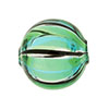 Green, Aqua Venetian Glass Bead Blown 20mm Straight Stripes, Round