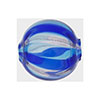 Aqua, Cobalt Aventurina Venetian Glass Bead Blown 20mm Straight Stripes, Round