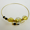 Murano Glass Bracelet, Memory Wire Gold Tone, 3 Beads Gold Foil