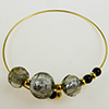 Murano Glass Bracelet, Memory Wire Gold Tone, 3 Beads Gray Silver Foil