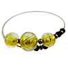 Murano Glass Bracelet, Memory Wire Silver Tone, 3 Beads Gold Foil