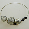 Murano Glass Bracelet, Memory Wire Silver Tone, 3 Beads Gray Silver Foil