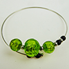 Murano Glass Bracelet, Memory Wire Silver Tone, 3 Beads Green Silver Foil