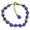 Cobalt Blue Murano Glass Bead Bracelet 7.5 Inch  with 1 1/4 Inch Extender, Gold Tone Clasp Authentic Murano Glass Beaded