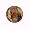 Murano Glass Bead Gold and Black Coral Shimmers Disc 20mm