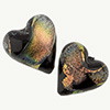 Black Coral Shimmers Dichroic Murano Glass Heart Bead, 20mm