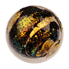 12mm Round Black Coral Shimmers Dichroic Murano Glass Bead, Gold Foil