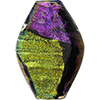 Venetian Glass Bead Dichroic Black Multi Diamond 42mm