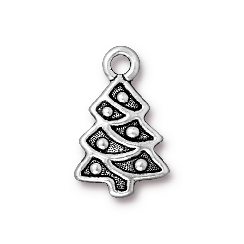 Christmas Tree Charm Silver Plated Pewter - Christmas Tree Charms