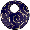 Curved Murano Glass Pendant 50mm Cobalt Silver Scroll