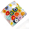 Murano Glass Curved Diagonal Square Pendant, 30mm w/Classic Millefiori