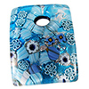 Aqua Curved Murano Glass Rectangle Pendant, 40mm, Silver Foil w/Millefiori