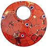 Fused Murano Glass Curved Round Pendant 50mm Red Millefiori