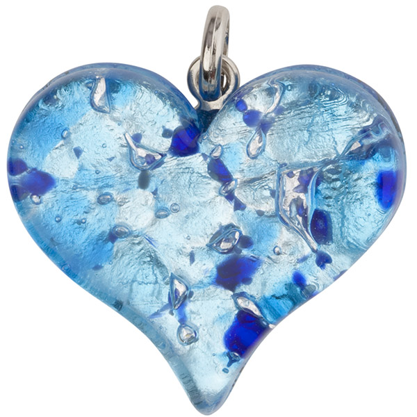 Fused murano glass flat heart pendant 40mm aqua blue and silver foil mozeypictures Image collections