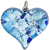 Fused Murano Glass Flat Heart Pendant 40mm Aqua, Blue and Silver Foil