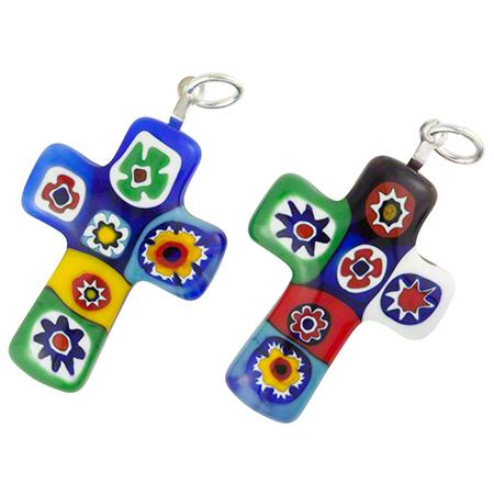 Millefiori crosses mediumwholesale venetian glass beads murano bright multi millefiori cross medium murano glass pendant mozeypictures Images