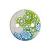 Fused Murano Glass Curved Round Pendant 22mm White Green Aqua w/2 Holes