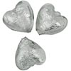 Grey Silver Foil Hearts 8mm Murano Glass Bead