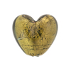 Olivine Gold Foil Heart Puffy 19mm Venetian Glass Bead