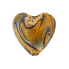 Blue and Topaz Heart 21mm Exterior Gold Foil Venetian Glass Bead