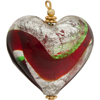Green Red Pendant Heart Puffy 30mm Silver