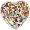 Klimt Inspired Silver Foil Murano Glass Heart Bead, 35mm