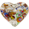 35mm Klimt Style Double Heart Murano Glass Bead, Silver Foil