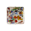 Murano Glass Beads, Crystal & Silver Foil Klimt Square 20mm