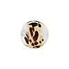 White Chocolate Leopard Print Gold Foil Coin 14mm, Murano Glass Bead