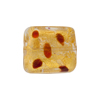 Murano Glass Bead Leopard Rectangle 18mm Gold Foil Red