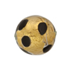 Chocolate Leopard 20mm Round Gold Foil Murano Glass Bead, Large Dots