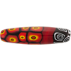 Mosaic Patterned Murano Glass Bead, 50mm x 12mm Oval, Red & Black