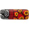 Mosaic Patterned Murano Glass Bead, 40mm Tube, Red & Black