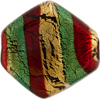 Emerald Red Gold Foil Missioni Diamond 34mm Murano Glass