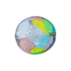 Murano Glass Bead Disc, Multi-Colored Patchwork Pattern, Silver Foil, 20mm