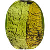 Green Pezzato Murano Glass Oval 38mm Gold,Silver Foil
