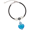 Aqua Murano Glass Heart Crystal Charm PERLAVITA Bracelet, Leather with Extender