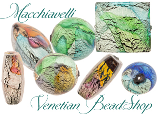 Just In and Fabulous Pastel Macchiavelli Authentic Venetian Beads with White Gold Foil