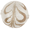 Scavo Textured Murano Glass Round Bead, Crystal & Exterior White Gold, 12mm