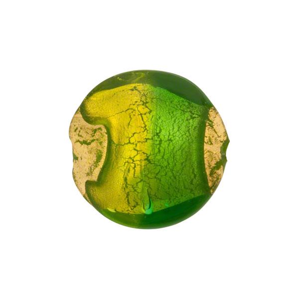 Venetian Bead Sole Swirl Disc 16mm Gold Foil Exposed, Peridot