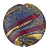 Sole Murano Glass Bead, Amethyst, Blue &Gold Foil Swirl 30mm Disc