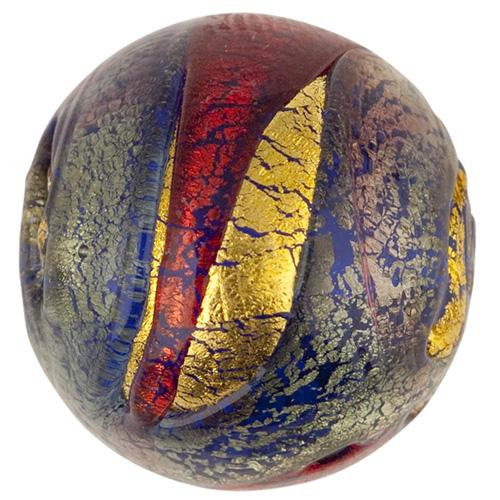 Sole Murano Glass Bead, Blue,Rubino & Gold Foil Swirl, 18mm Round