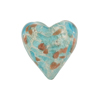 Speckled Heart 20mm White Gold Foil Aqua Murano Glass Bead