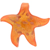 Orange 24kt Gold Foil Starfish Pendants Large Self Bail Murano Glass