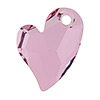 Swarovski 6261 Devoted 2 U Heart Pendant, 17mm, Crystal Antique Pink